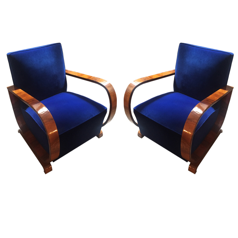 Coppia di Poltrone Blue  Pair of Blue Armchairs France