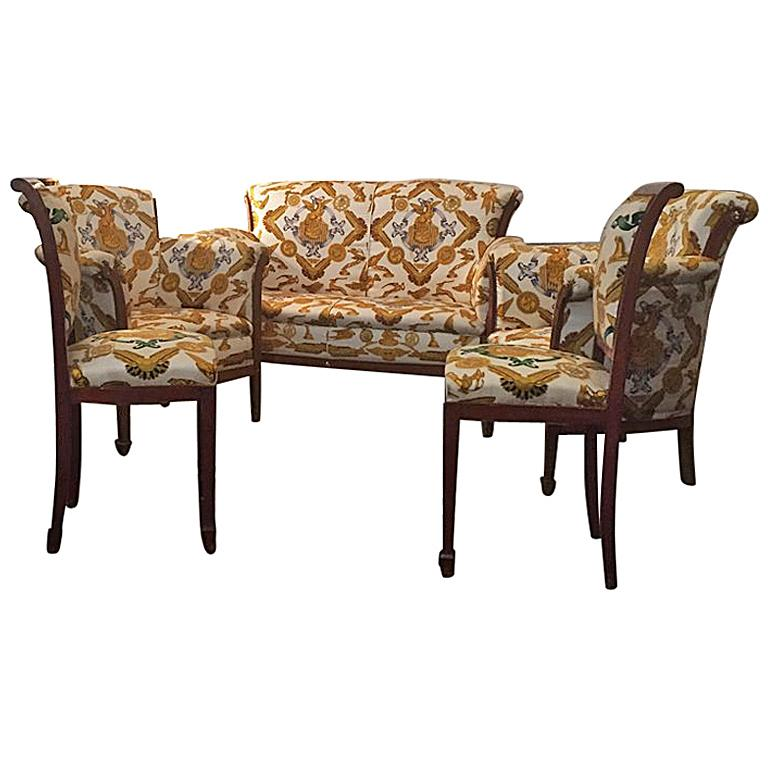 Set of Armchairs, Sofa and Chairs French 1930, covered with Hermès Scarves
