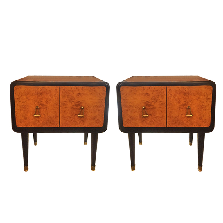 Coppia di comodini in radica -Pair of bedside Table in briar-root